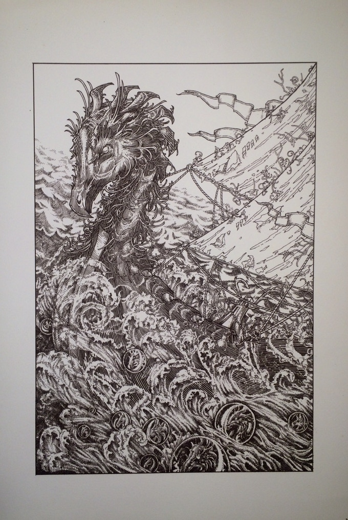 The black and white Green Dragon print
