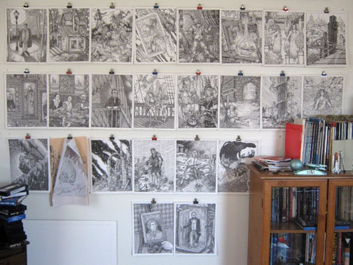 Examples of finished illustrations from THE SHADOW DRAGONS