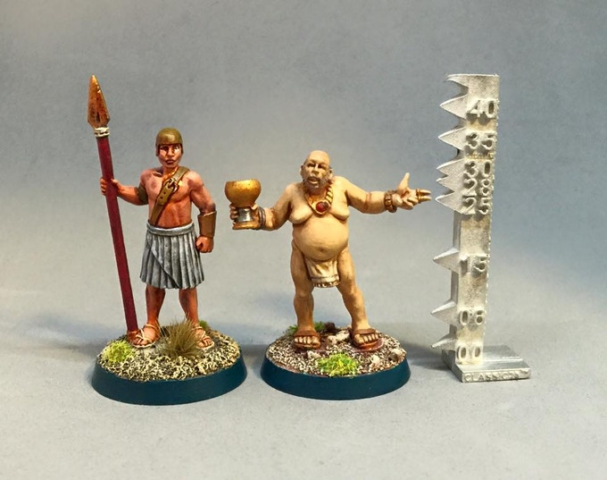 Sentry and Merchant, mounted on 25mm round slottabases, painted by Jason Huffman and me!