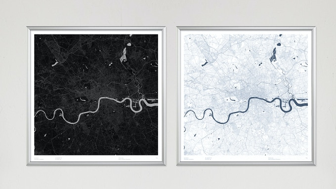 Over 230 posters available in two colour options (London shown).