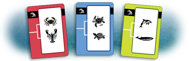 These three cards form a match. Environment and number are all three the same, while color and clade are all three different.
