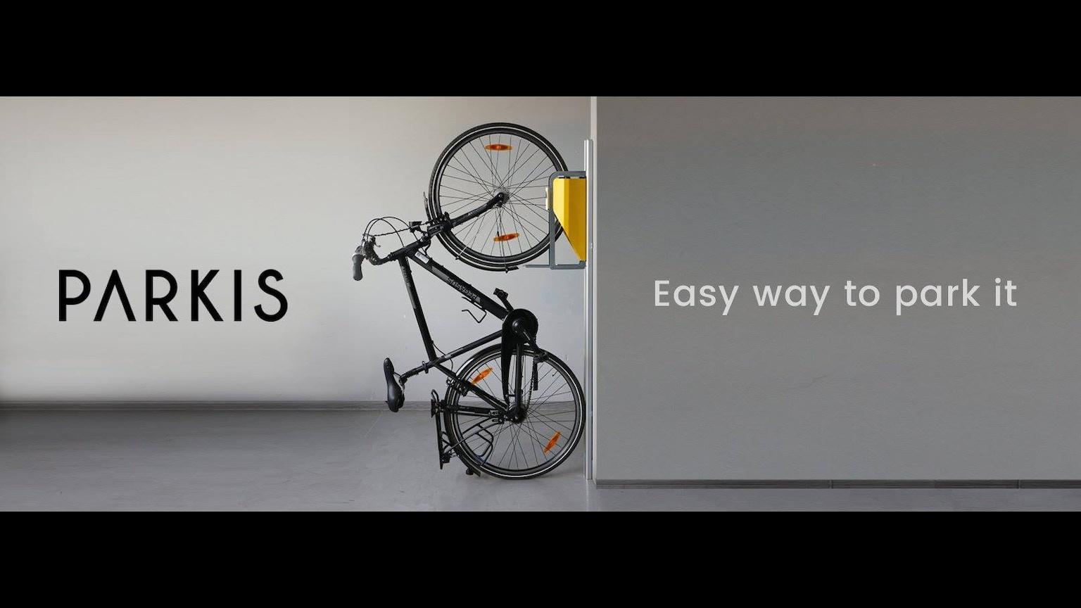 parkis space saving bicycle lift by giedre kickstarter. Black Bedroom Furniture Sets. Home Design Ideas