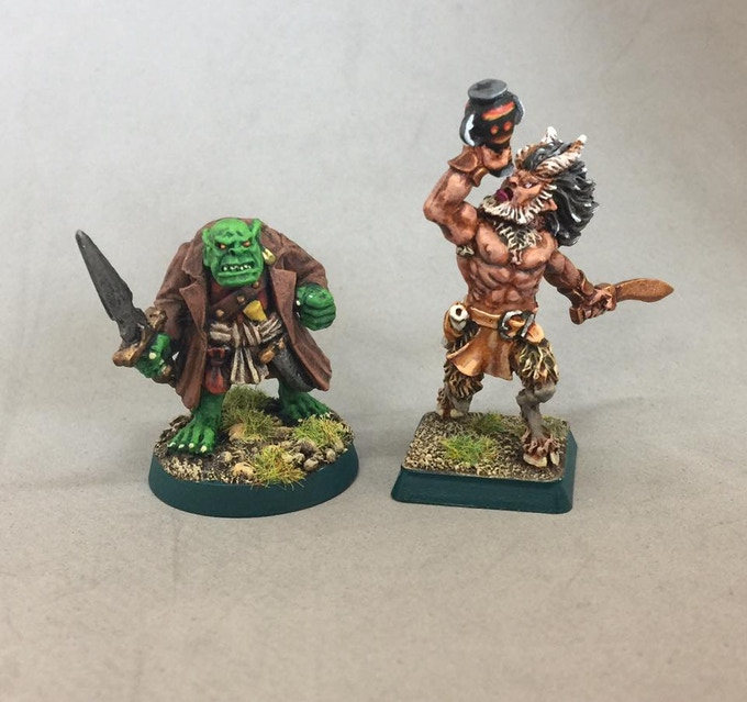 Foundry Orc and Wargods Satyr, painted by me.  They're just here to show off what my painted figures look like, they are not part of the campaign.
