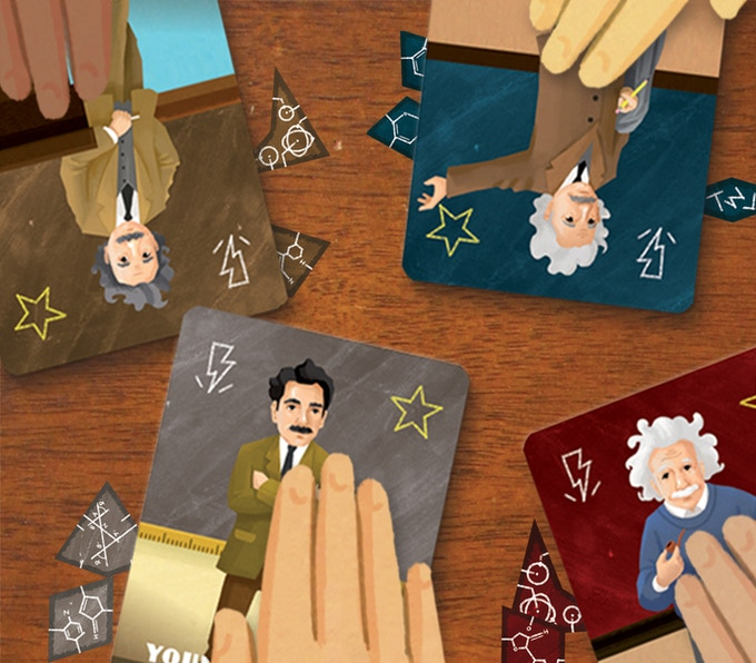 Pick your Einstein and draw a hand of three personalized Inspiration cards from your Inspiration deck.