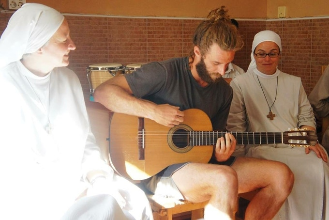 Singing with some nun friends in Spain.