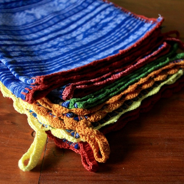 Tea Towels with Naturally-dyed Thread for Embroidery