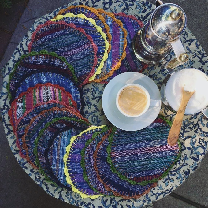 Hand-Embroidered Coasters, Mix and Match 4