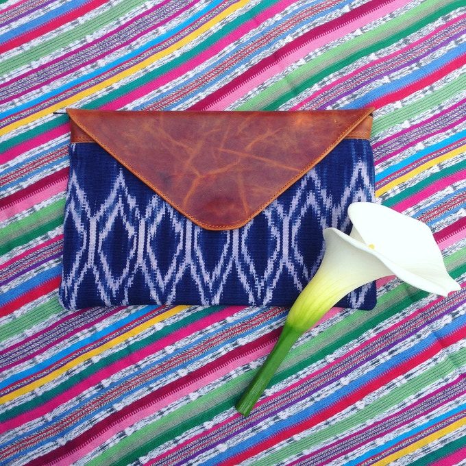 Oversized Clutch made with handwoven indigo textile