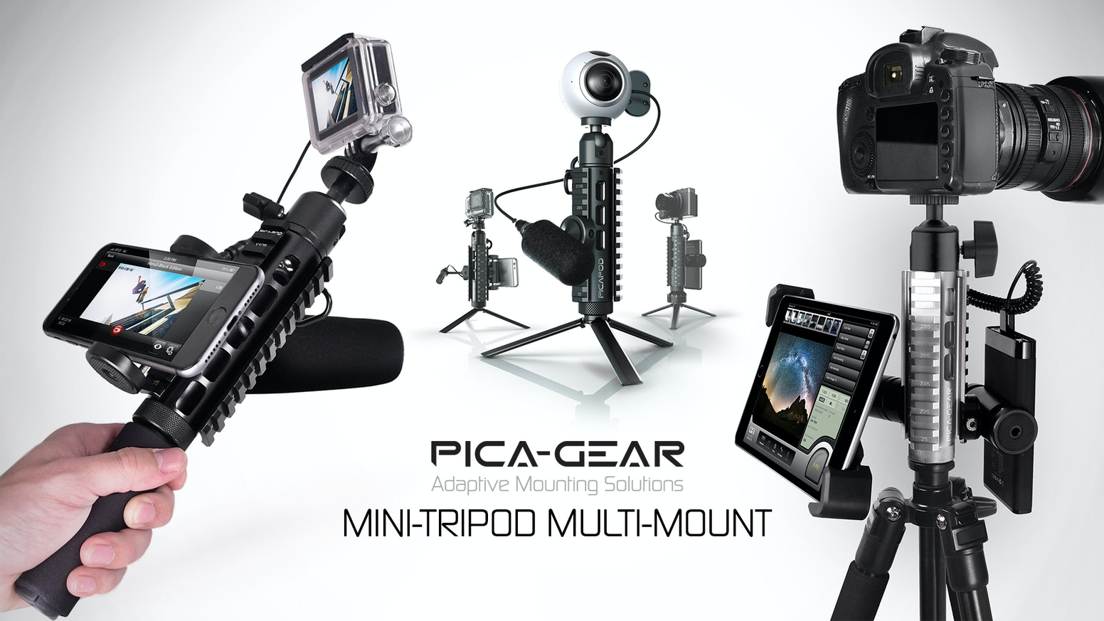 Organize any camera, phone, power bank etc to improve your shots. Works as a portable mini tripod or attaches to any full-sized tripod