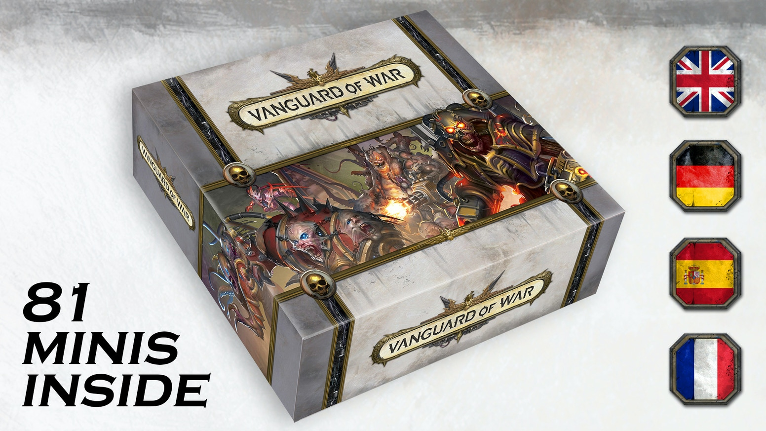 Vanguard of War is a 1-4 player survival co-op miniature board game focused on protection of the objective.