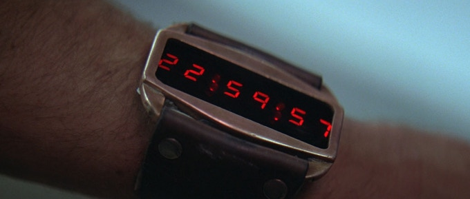 The first close up of the Lifeclock One timer in the movie.
