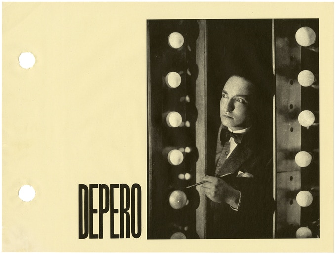 Portrait of Fortunato Depero photographed in a theater dressing room in 1924, from The Bolted Book. © 2016 Artists Rights Society (ARS), NY / SIAE Rome