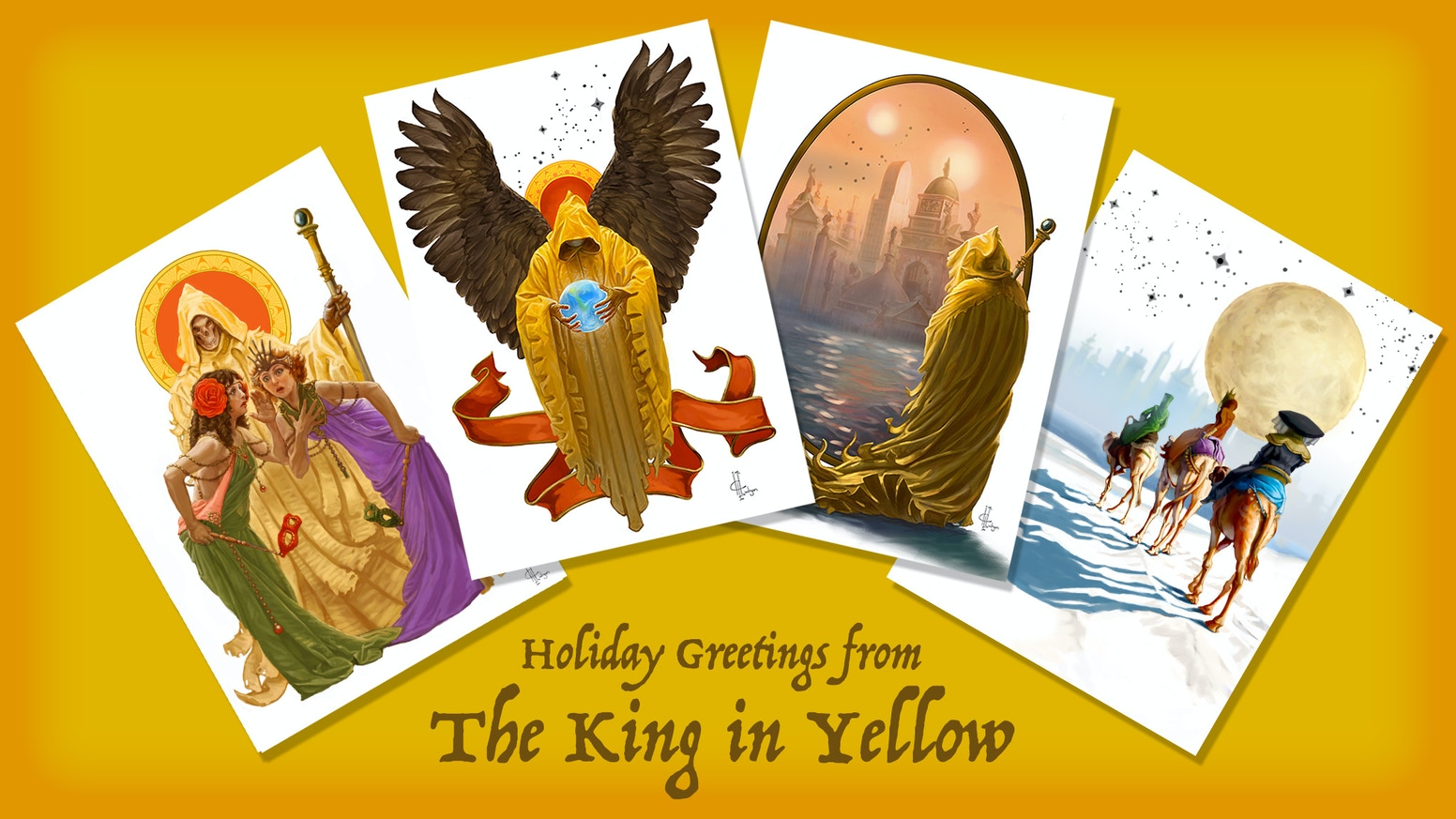 Make your holidays a little stranger with these 4 King in Yellow inspired Christmas cards beautifully illustrated by Heather Hudson.