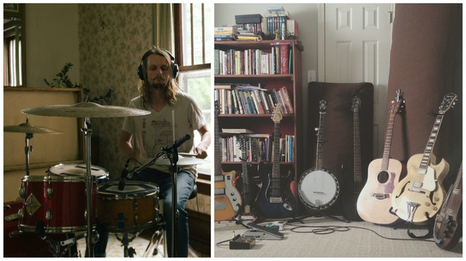 Chad Houseman (aka Tom Hymn) recording drums / Collection of stringed instruments used