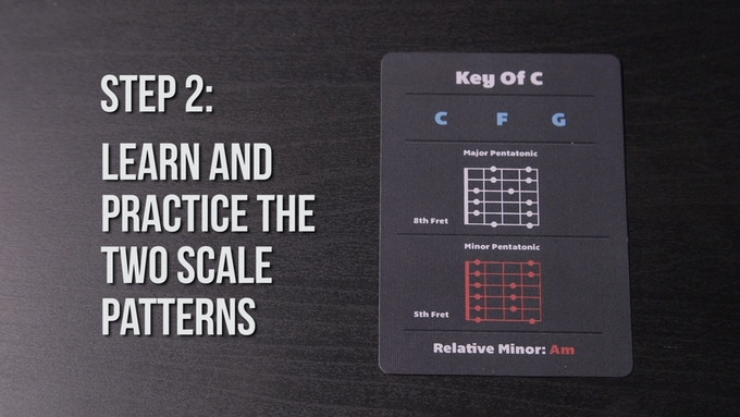 Use the key cards to understand the basics of the key you are playing in. You can see the 4 main chords that you will be able to play. You will know which fret to play the major pentatonic and minor pentatonic scales.