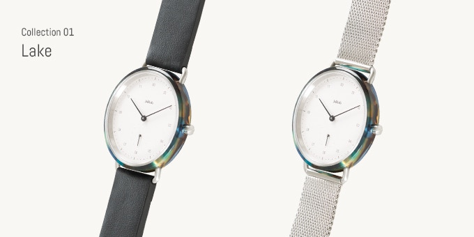 Choose between Lake with leather strap or Lake with Milanese strap.