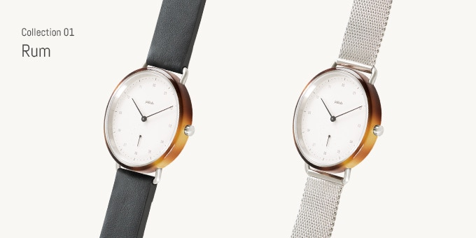 Choose between Rum with leather strap or Rum with Milanese strap.