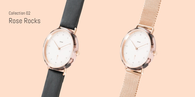 Choose between Rose Rocks with leather strap or Rose Rocks with Milanese strap.