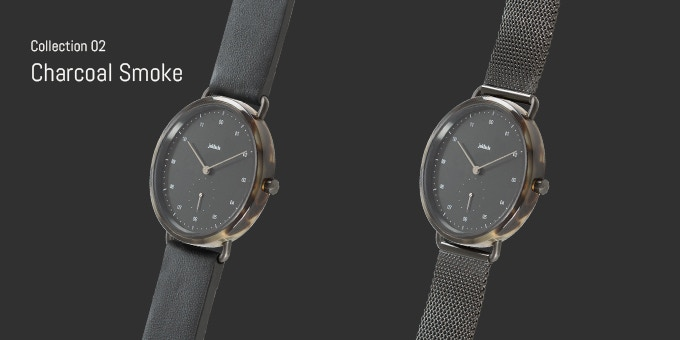 Choose between Charcoal Smoke with leather strap or Charcoal Smoke with Milanese strap.
