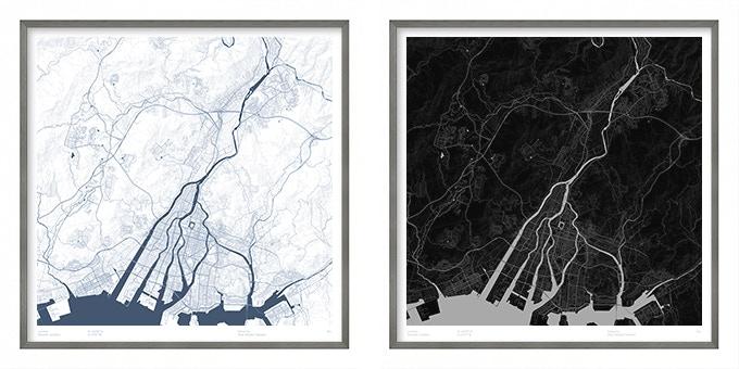Hiroshima map poster.