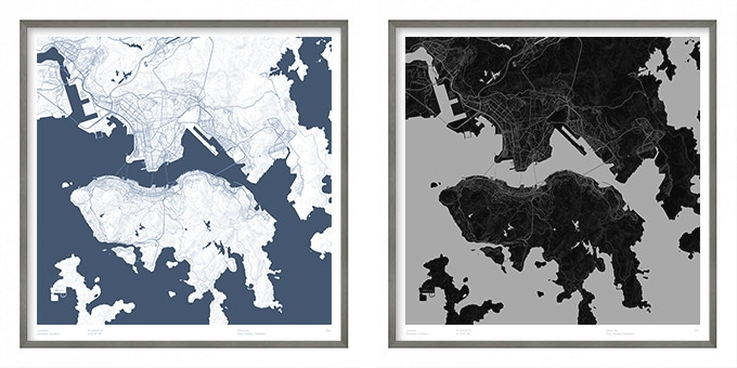 Hong Kong map poster.