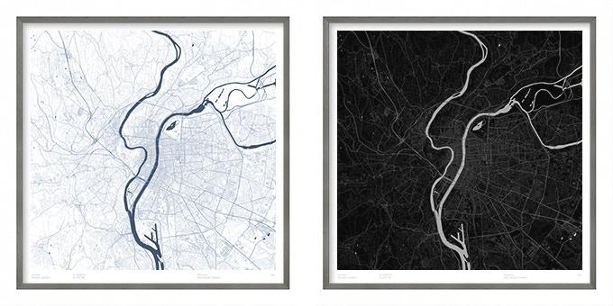 Lyon map poster.