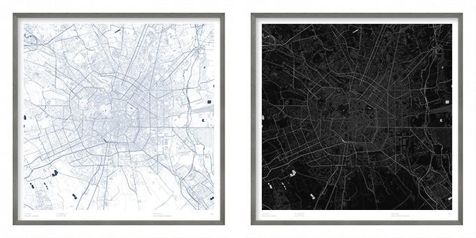 Milan map poster.