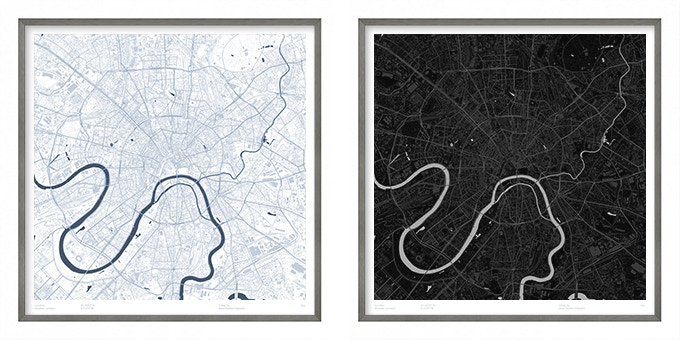 Moscow map poster.