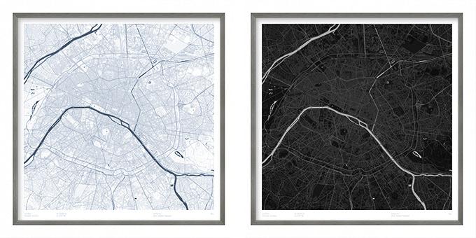 Paris map poster.