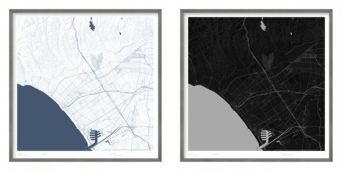 Santa Monica map poster.