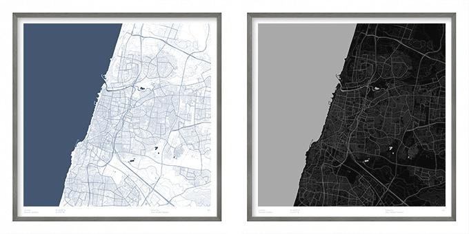 Tel Aviv map poster.