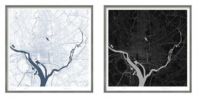 Washington DC map poster.
