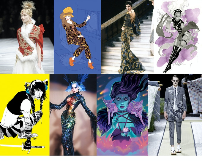 Some of the designers and artists featured in Couture.  Clockwise, from top left: Alexander McQueen, Marguerite Sauvage, John Galliano, Kevin Wada, Thom Browne, Jen Bartel, Thierry Mugler, Robbi Rodriguez