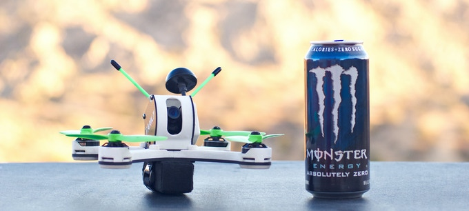 Tanky next to a 16oz can of Monster Energy drink for size reference. No affiliation with Monster Energy.