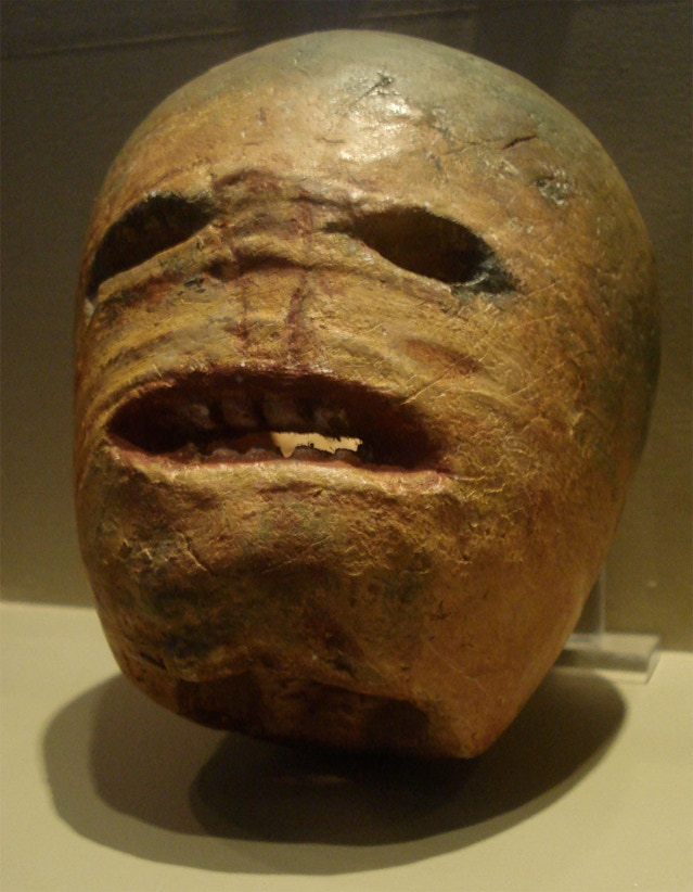A traditional Irish Jack o'lantern, using a turnip. Quite a scary-looking dude!