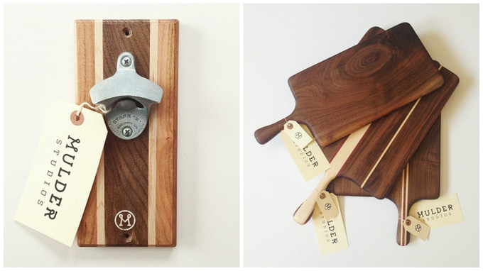 Magnetic Bottle Opener / Cutting Boards (appearance and wood type will vary)