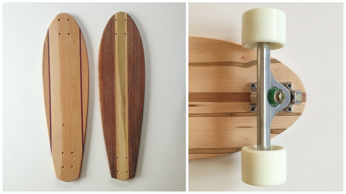 Hardwood Cruiser Skateboards (the 2 on the left will be available, with white wheels)