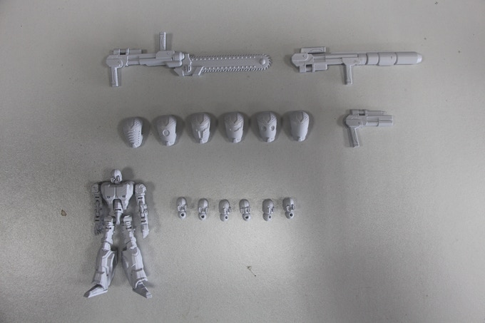 A selection of weapons and heads