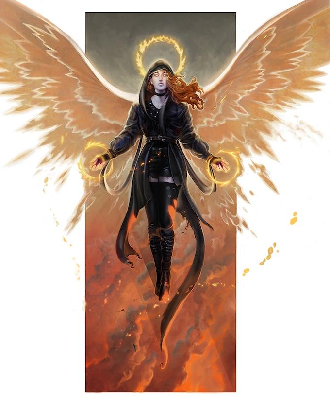 Descended Draft, Seraphim Banner, Artist Rodrigo Vega