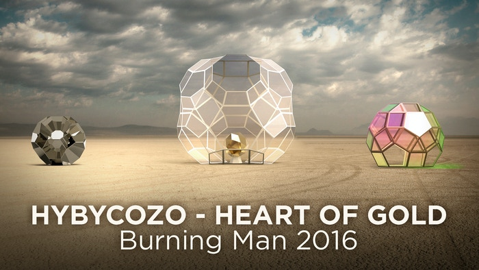 A geometric and iridescent light installation at Burning Man 2016 + rewards for contemplating life, the universe, and everything.