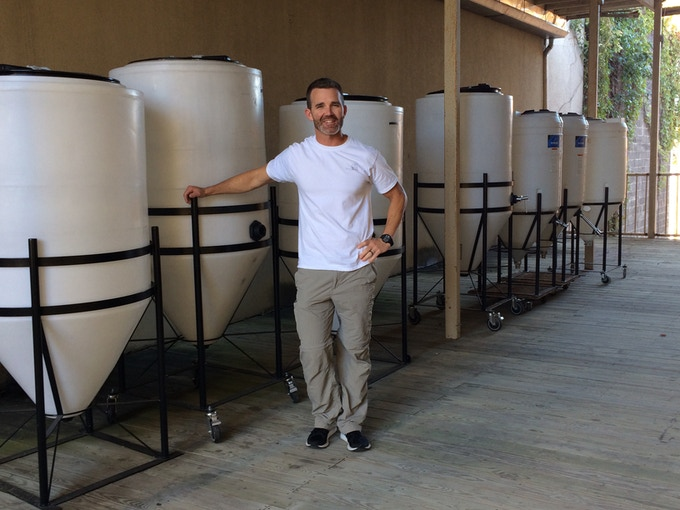Chris Gadd standing at future home of Furnace Brewing.
