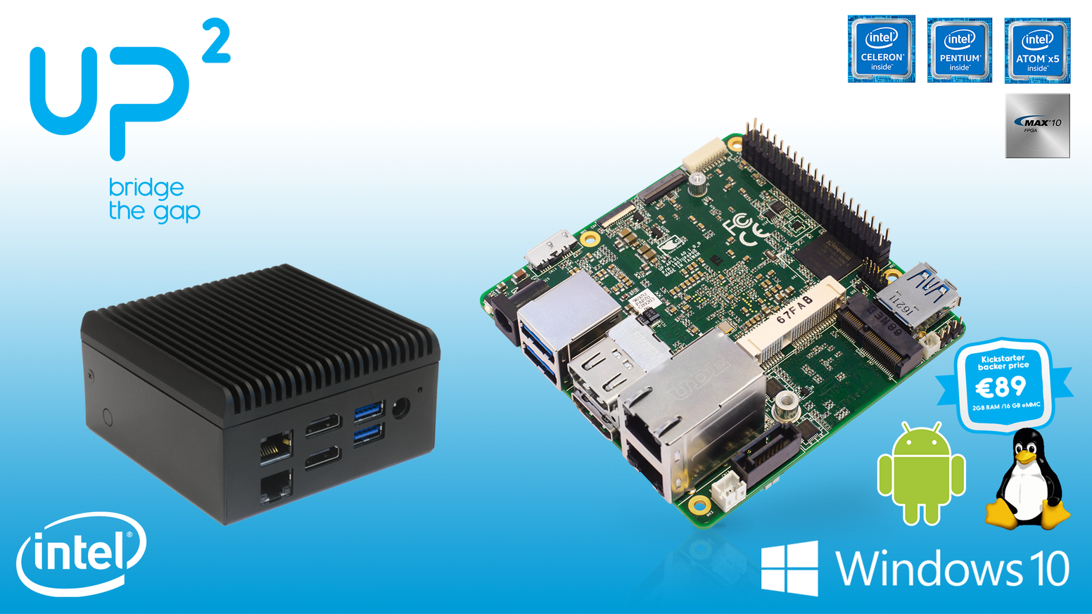 UP² (UP Squared) the most powerful maker board ever! Now it is also available as a fanless PC, powered by Intel Apollo Lake CPU
