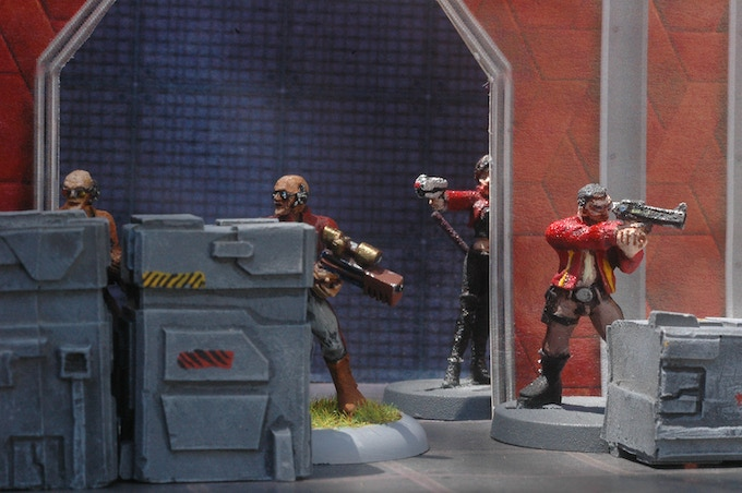 A firefight with game miniatures!