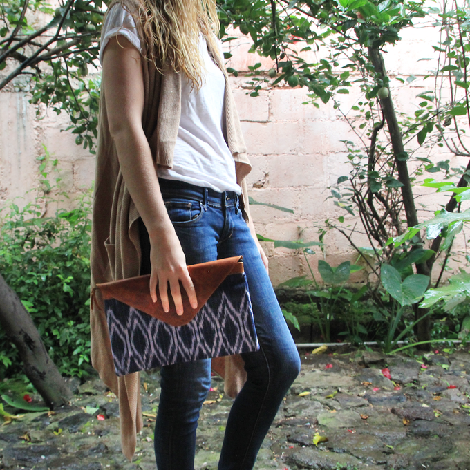 Oversized Clutch, with indigo handwoven textile and genuine leather
