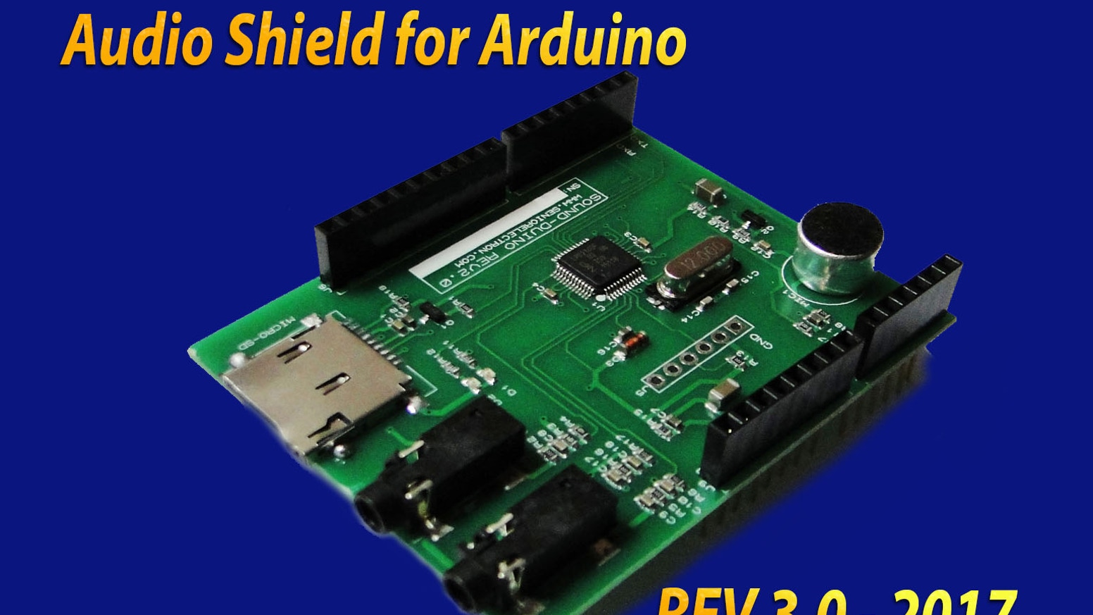 3rd Generation of SoundDuino. Audio shield for Arduino with  higher audio quality and more functions