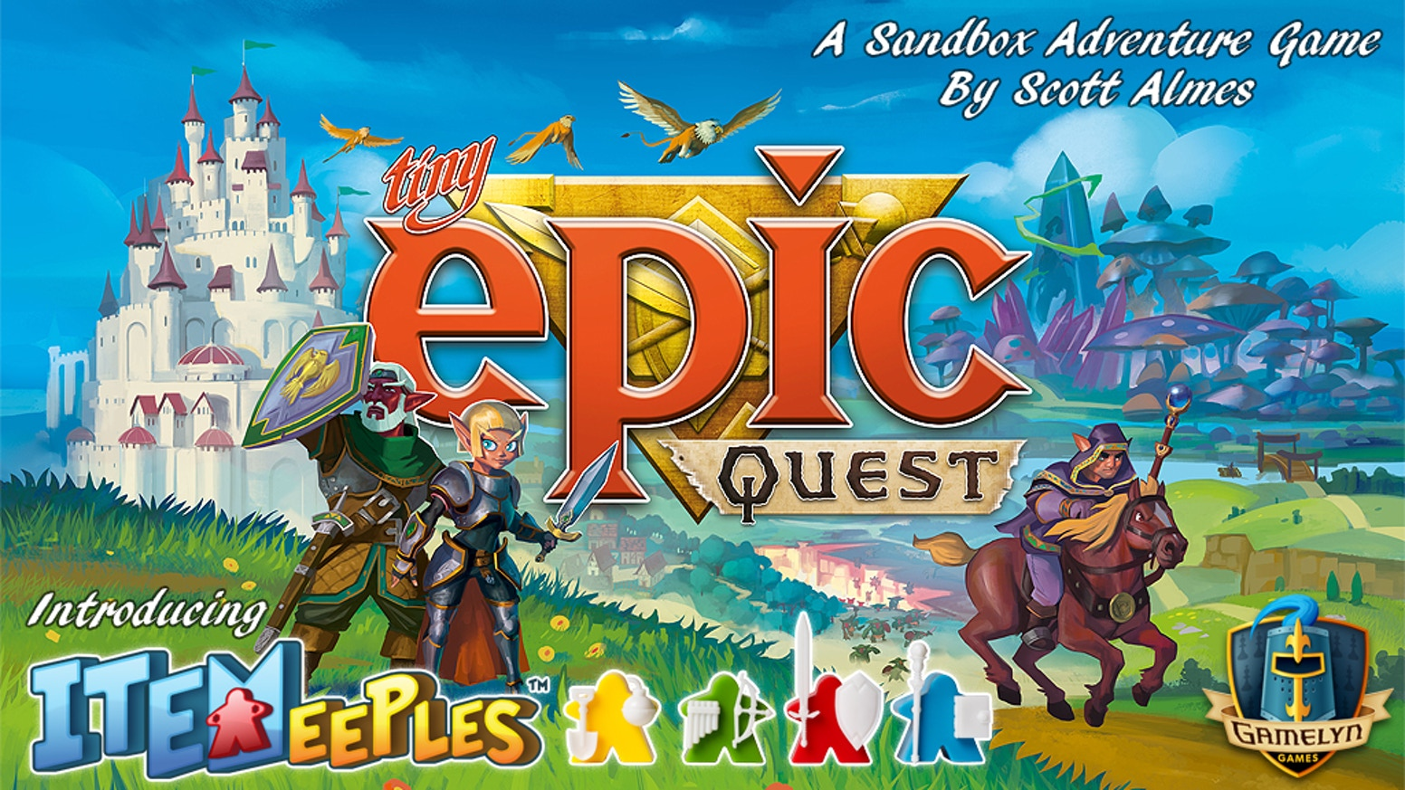 A 45 min sandbox adventure for 1-4 players w/ limited action selection, grid movement, press-your-luck & Item-Holding Meeples!