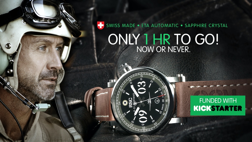"""A fast watch: RSC """"P51-Mustang"""" 100% Swiss made automatic watch with sapphire glass. High end watch starting at €495/£444/$540 !!!!"""