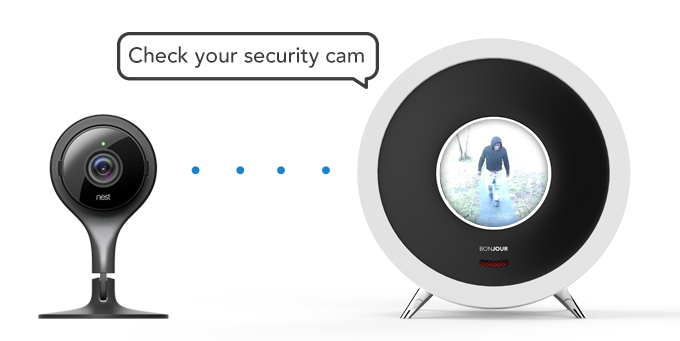 No need to open your phone. Bonjour can display images from your security or baby cam .