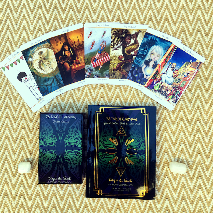 78 Tarot Carnival is our third collaborative Tarot deck - it is Limited Edition and can be purchased today along with an optional 261 page gold foil cover companion guide.