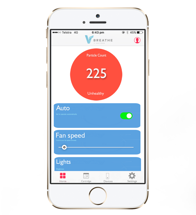You can control the fan speed, light intensity and monitor air quality via the app, and order cartridges and filters as well. Manual options are also available.